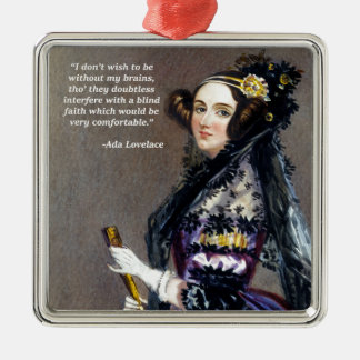 Ada Lovelace (Portrait by Alfred Chalon) Silver-Colored Square Decoration