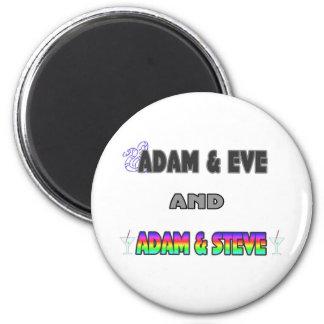 Adam & Eve & Adam & Steve 6 Cm Round Magnet