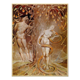Adam, Eve & Serpent in the Garden of Eden by Blake Poster