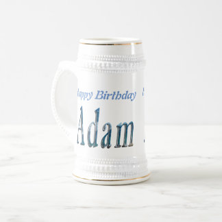 Adam, Happy Birthday Logo, White Beer Stein. Beer Stein