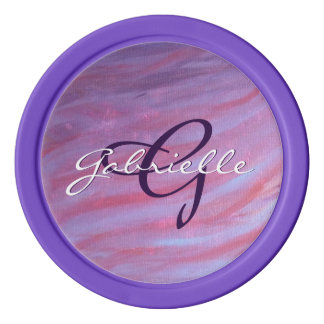 Adaptable Play | Name Purple Pink Abstract Zebra | Poker Chips