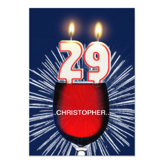Add a name, 29th Birthday party Invitation, wine Card