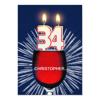 Add a name, 34th Birthday party Invitation, wine Card