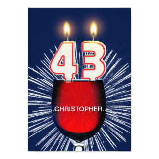 Add a name, 43rd Birthday party Invitation, wine Card