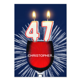 Add a name, 47th Birthday party Invitation, wine Card