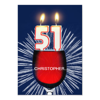 Add a name, 51st Birthday party Invitation, wine Card