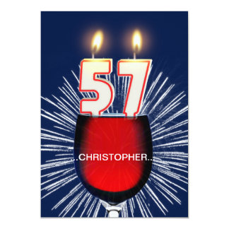 Add a name, 57th Birthday party Invitation, wine Card