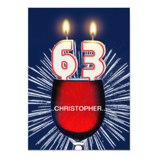 Add a name, 63rd Birthday party Invitation, wine Card