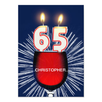 Add a name, 65th Birthday party Invitation, wine Card