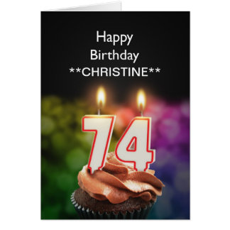Add a name, 74th birthday card