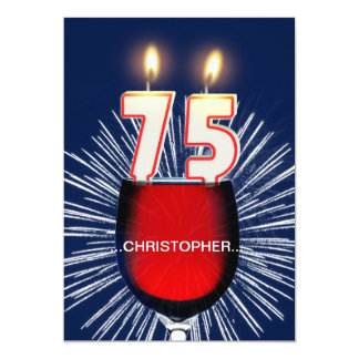 Add a name, 75th Birthday party Invitation, wine Card