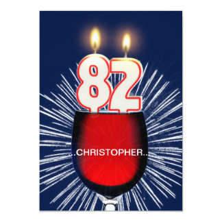 Add a name, 82nd Birthday party Invitation, wine Card