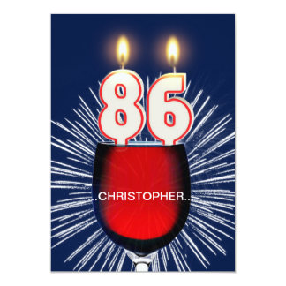 Add a name, 86th Birthday party Invitation, wine Card