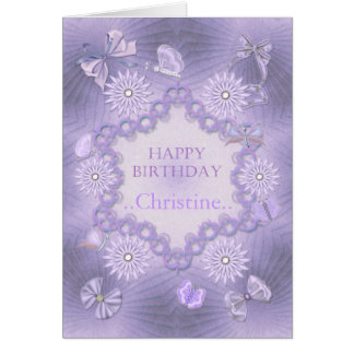 Add a name lilac birthday card with flowers