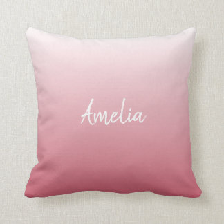 Add a name Ombre salmon pink Cushion