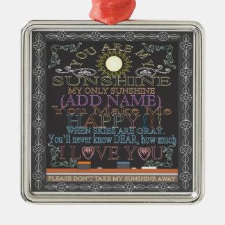 Add a Name Sunshine Chalkboard Metal Ornament