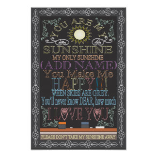 Add a Name Sunshine Vintage Chalkboard Poster