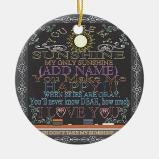 Add a Name Sunshine Vintage Chalkboard Round Ceramic Decoration