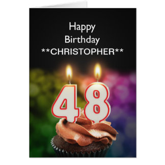 Add a name to this 48th birthday card candles