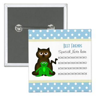 Add A Note Friendship Kitty and Frog Button