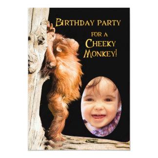 Add a photo Birthday party, with orangutan 13 Cm X 18 Cm Invitation Card