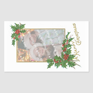 Add-A-Photo Christmas Vintage Gold Holly Berries Stickers