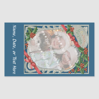 Add-A-Photo Christmas Vintage Joyful Yuletide Rectangular Stickers