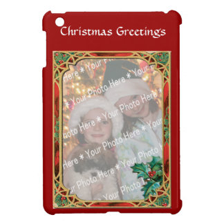 Add-A-Photo Stained Glass Frame with Holly Leaves Case For The iPad Mini