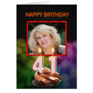 Add a picture, 41st Birthday with cake and candles Greeting Card