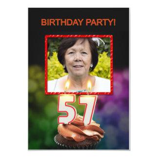 Add a picture, 57th Birthday party Invitation