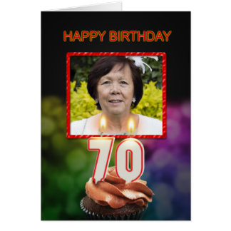 Add a picture, 70th Birthday card with Candles