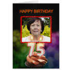 Add a picture, 75th Birthday card with Candles