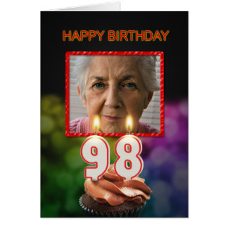 Add a picture, 98th Birthday card with Candles