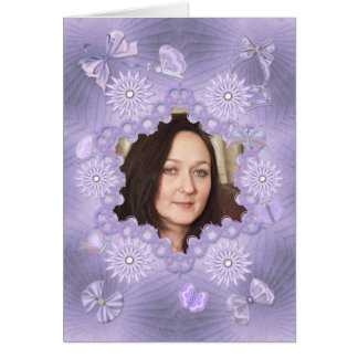 Add a picture lilac birthday card with flowers