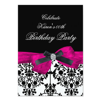 Add Age Birthday Party Pink Damask Black White Card