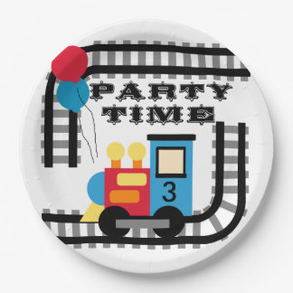 Add Age Party Time Train Birthday Paper Plate