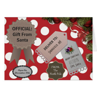 Add Child's Name Official Gift From Santa Dots Card