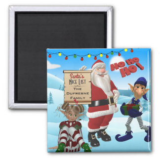 "Add Family Name ""Santa's Nice List"" Northpole Magnet"