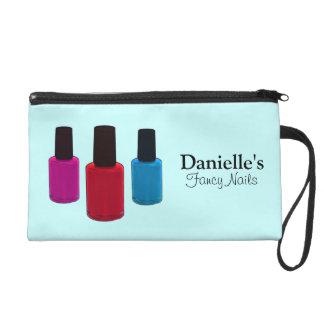 Add Her Name, Finger Nail Polish Blue Beauty Bag Wristlet