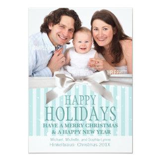 Add Holiday Photo Cute Aqua Stripes Custom Invites