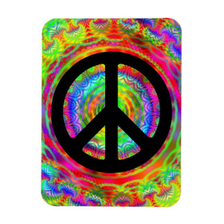 Add Image with Black Peace Symbol Magnet