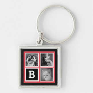 Add Instagram Photos Coral Monogram Silver-Colored Square Key Ring