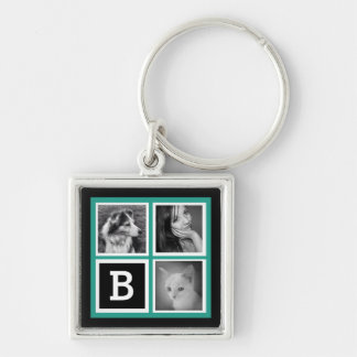 Add Instagram Photos Teal Monogram Silver-Colored Square Key Ring