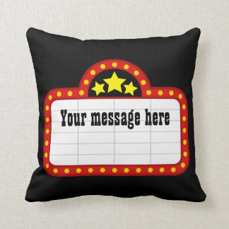 add message Movie theater sign decor pillow