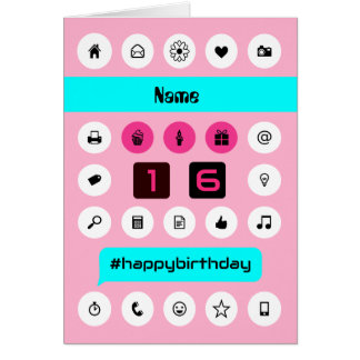 Add name 16th hashtag birthday smartphone icons greeting card