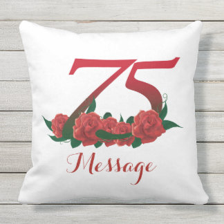 Add name 75th birth day custom text Pillow