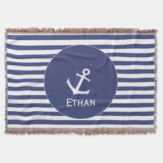 Add Name   Blue and White Striped Nautical Throw Blanket