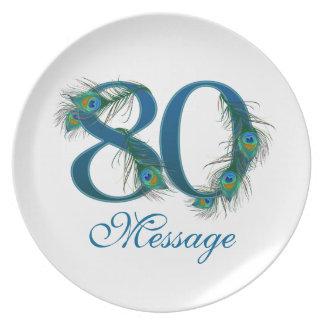 Add name custom 80th Birthday plate