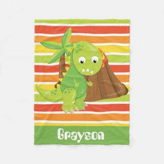 Add Name Dinosaur baby boy blanket