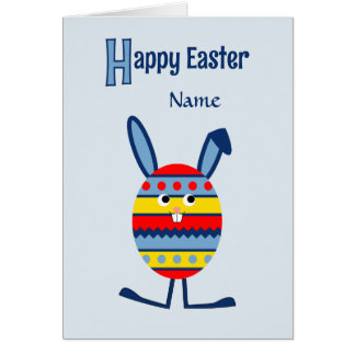 Add name Easter egg bunny blue Greeting Card